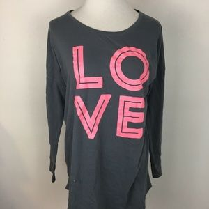 "Victoria's Secret Women's Gray ""Love"" Theme Shirt"
